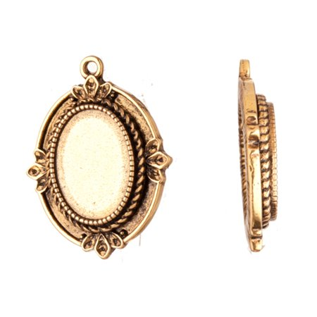 Pendant, Antique-Gold Finished Rope Edge Spike Cabochon Setting 32.8x24mm With 18x13mm Mount 3pcs/pack (2-Pack Value Bundle), SAVE $1 - Pendant Settings Mounts