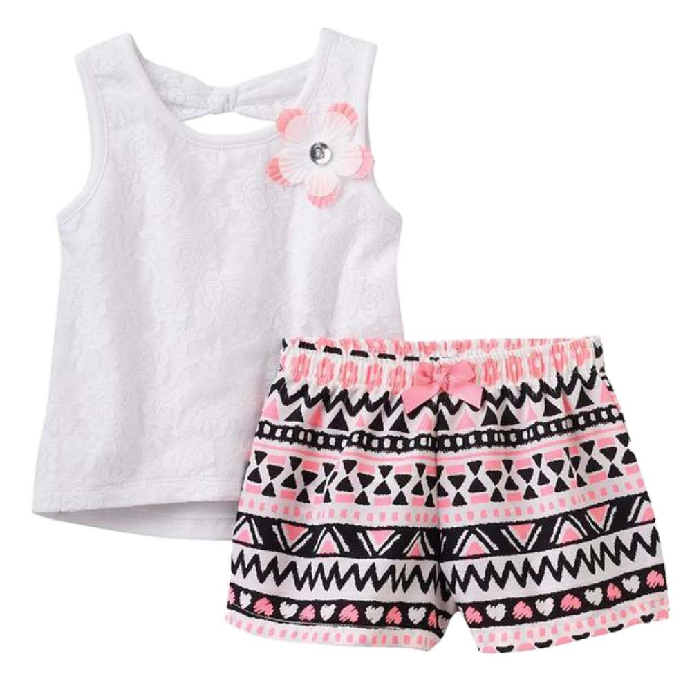 Infant & Toddler Girls 2 PC Set White Lacy Shirt & Print Shorts