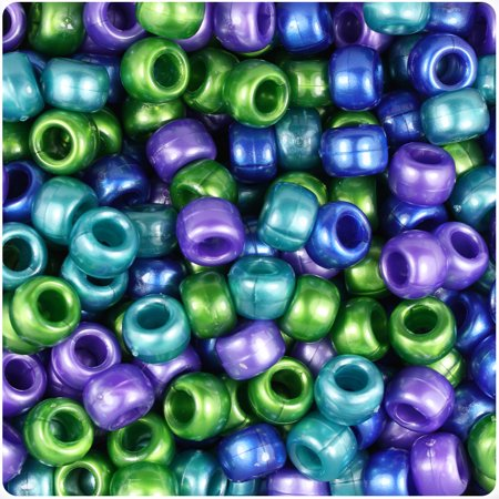 BeadTin Cool Mix Pearl 9mm Barrel Pony Beads (500pc) (Beaded Pearls)