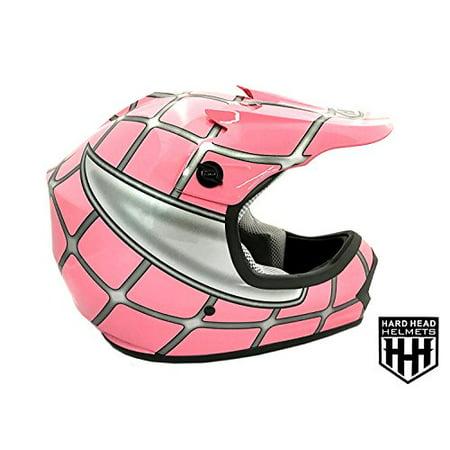 DOT Youth & Kids Helmet for Dirtbike ATV Motocross MX Offroad Motorcyle Street bike Flat Matte Black Helmet (Small, Pink