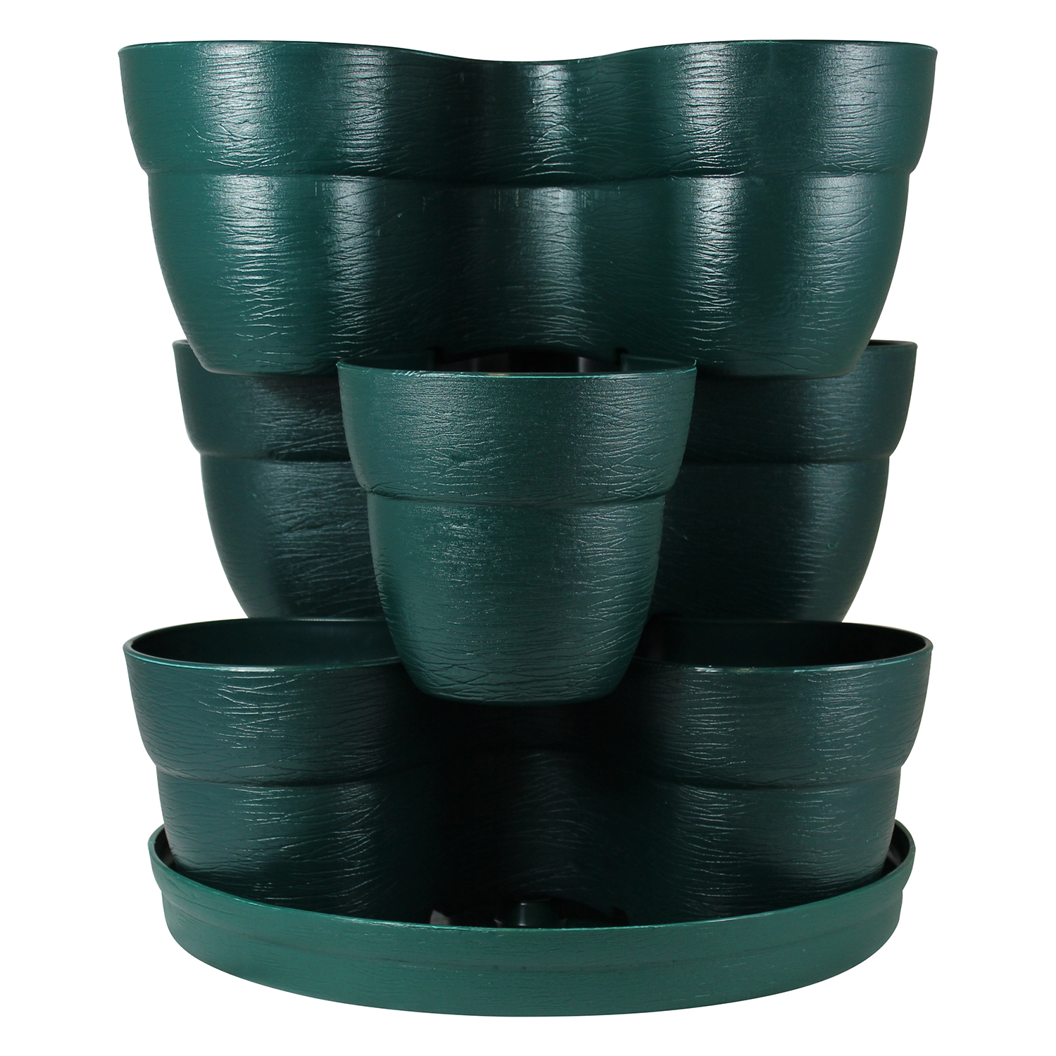 Bloomers Stackable Flower Tower Planter – Holds up to 9 Plants – Great Both Indoors and Outdoors – Hunter Green