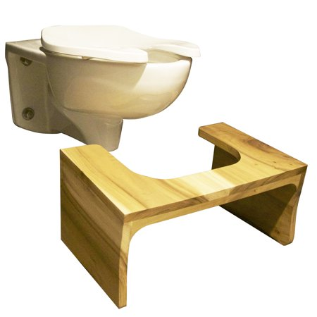 Wooden bathroom Toilet Stool, unfinished cedar, 16 Width x 10 Length x 7 Height - Choose your size/material ()