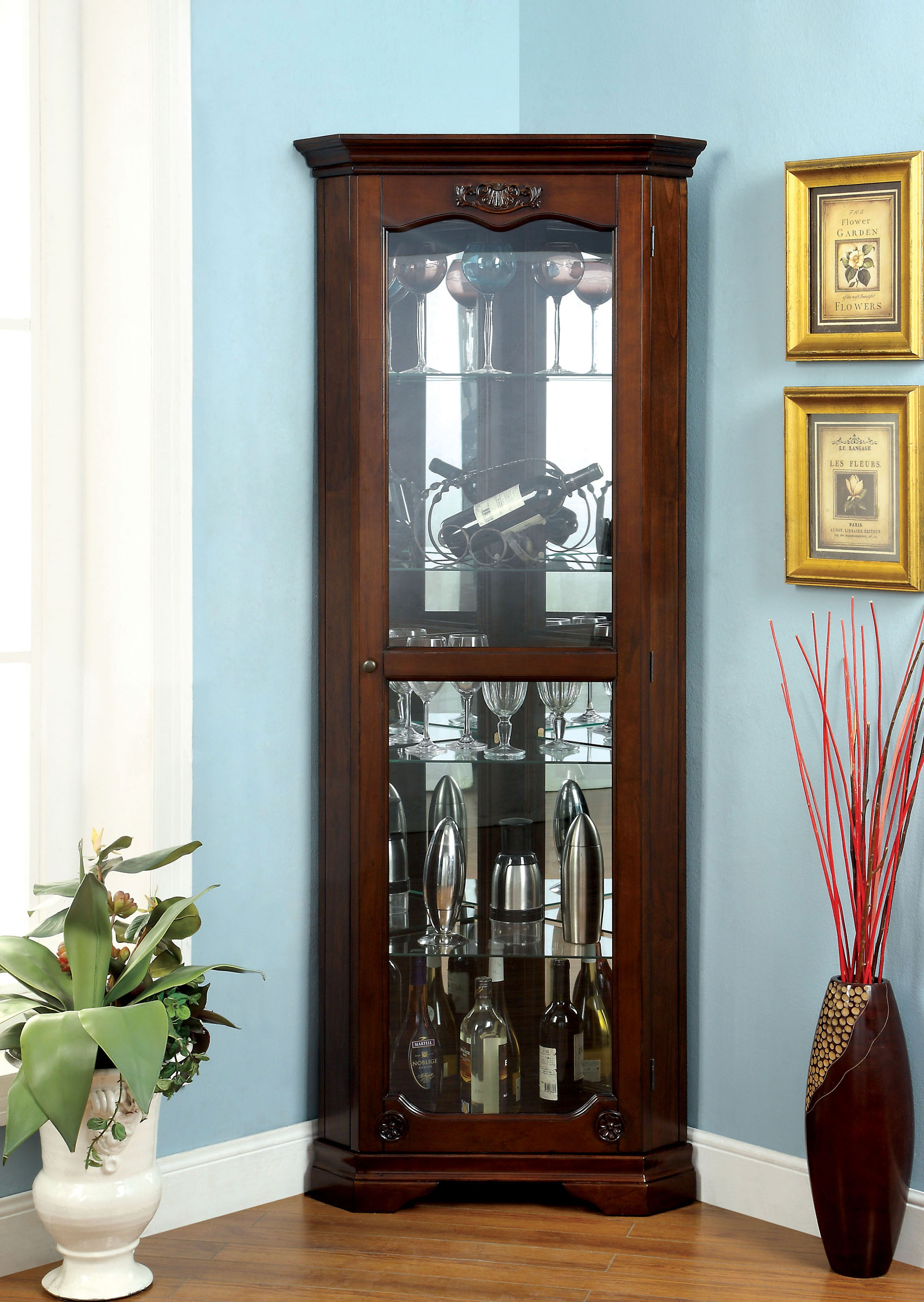 Furniture Of America Ortley Walnut Finish Curio Cabinet With Glass Framed Doors by Furniture of America