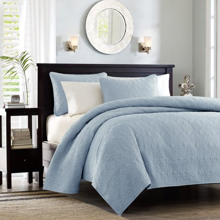 Vancouver Quilted Coverlet Set (Twin/TXL) Blue - 2pc