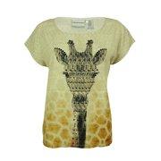 Alfred Dunner Women's Giraffe Print Studded Top