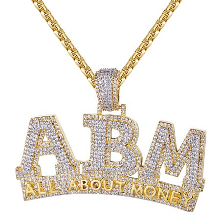 Silver Men's All About Money ABM Double Layer 3D Custom Pendant -