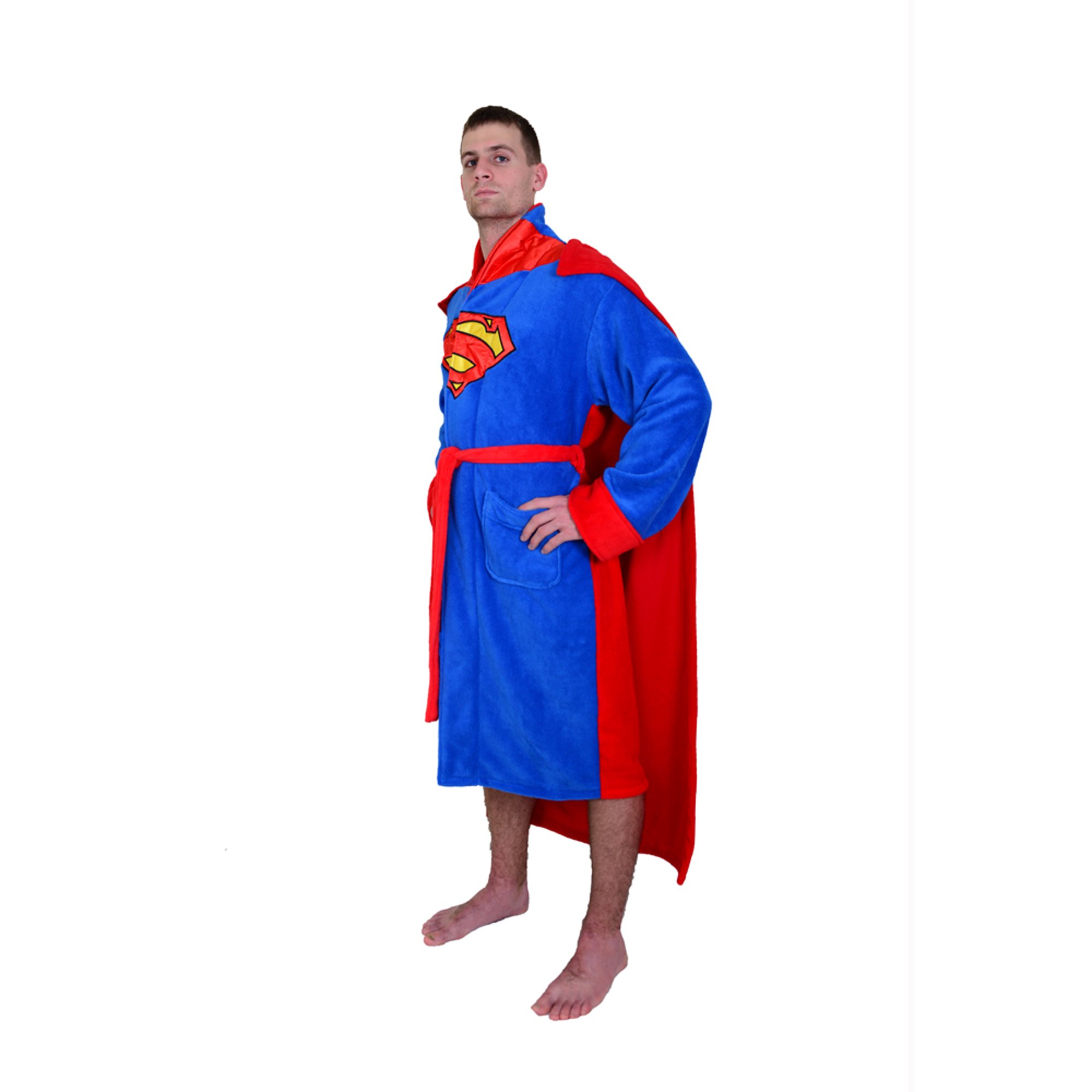 DC Comics Superman Men s Fleece Bathrobe with Cape  9648555fd