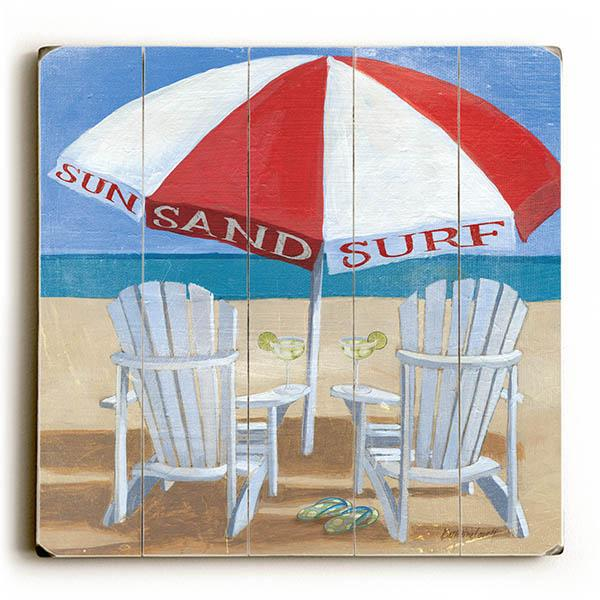 "ArteHouse Decorative Wood Sign ""A Day at the Beach"" by Artist Kathrine Lovell, 13"" x 13"", Planked Wood"