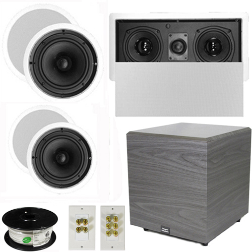 "Theater Solutions 5.1 Home Theater 8"" and 6.5"" Speaker Set with Center, 12"" Powered Sub and... by Theater Solutions"