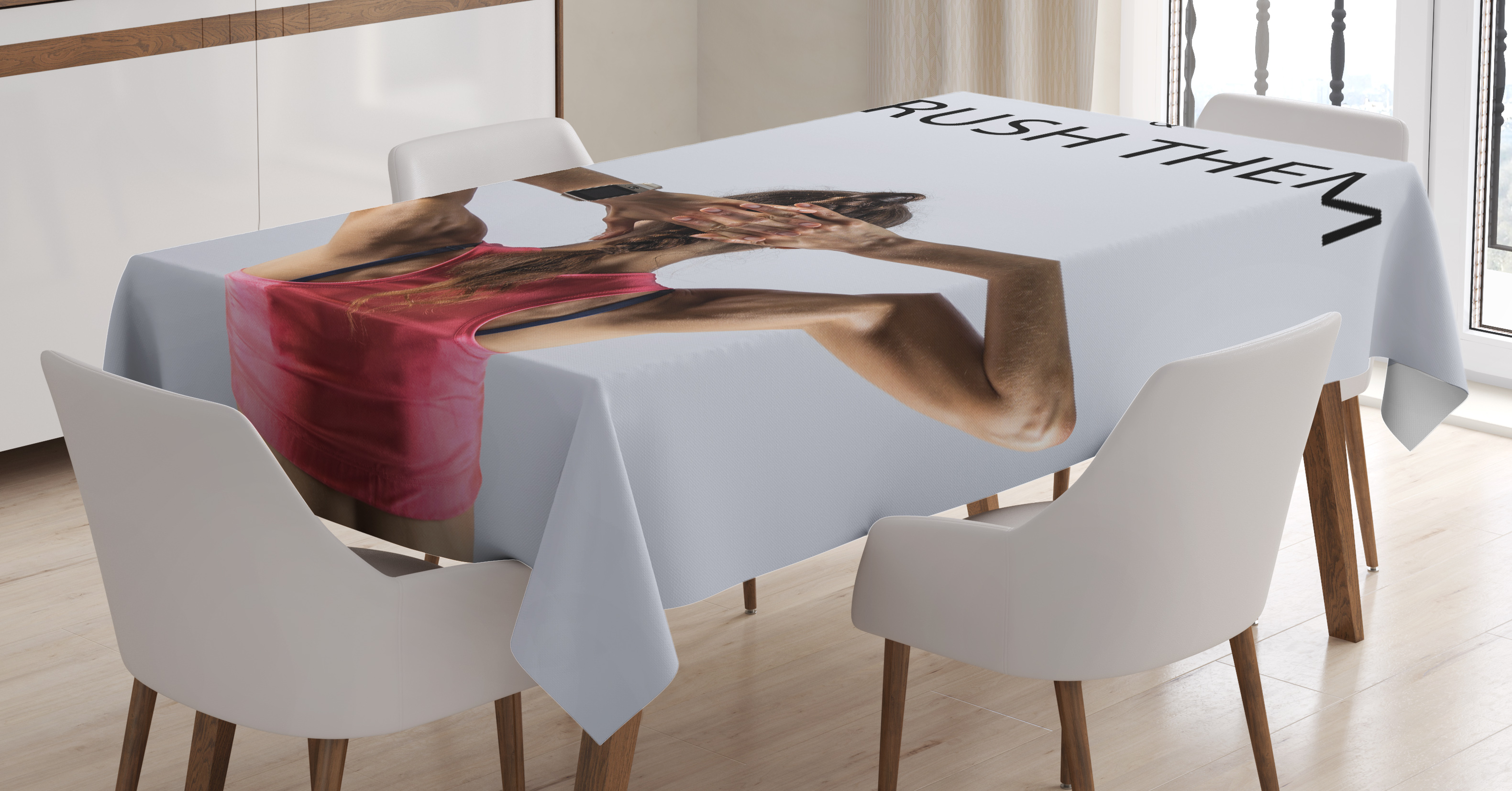 Fitness Tablecloth Athletic Model Woman Back View Set Goals And