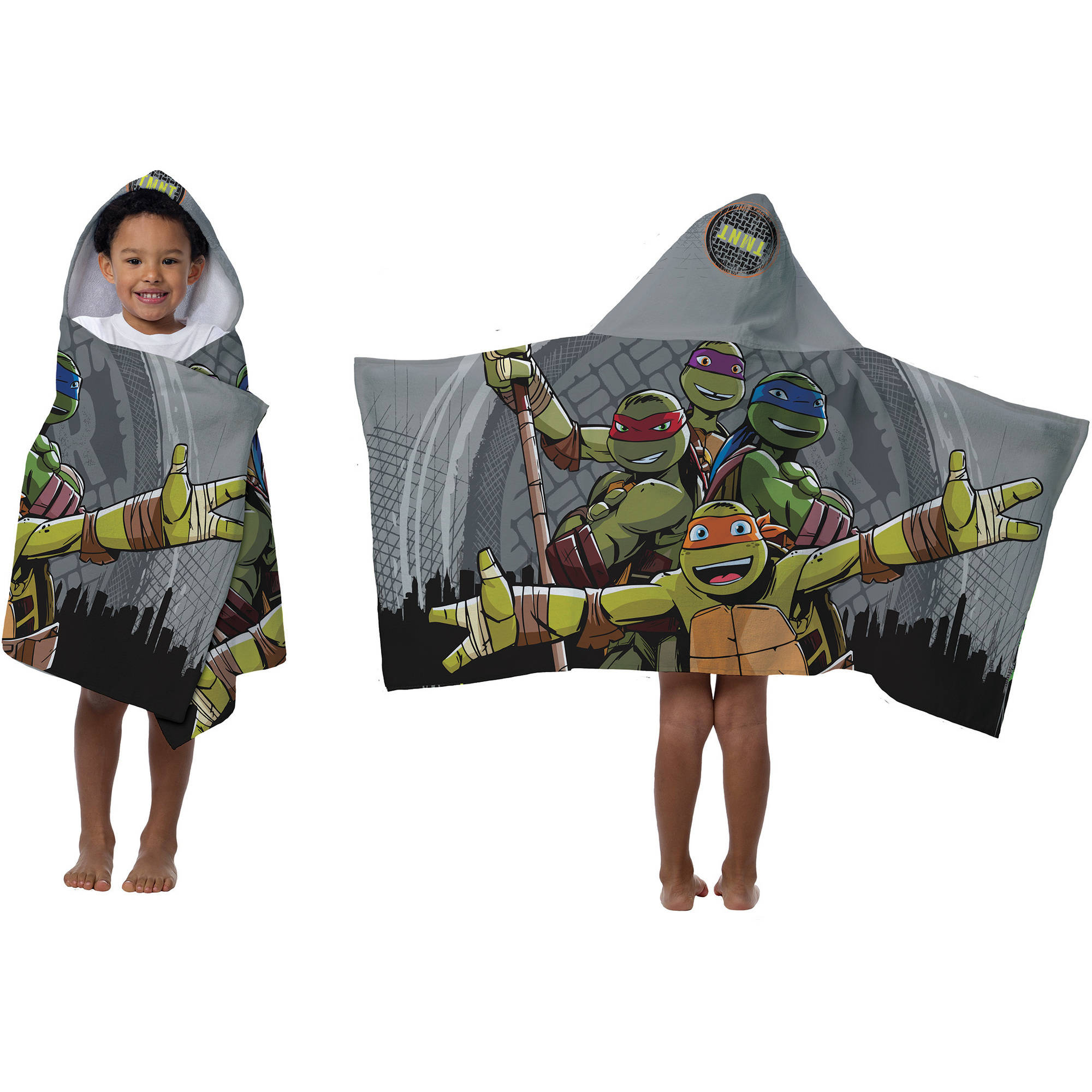Teenage Mutant Ninja Turtles Hooded Bath Towel, Grey