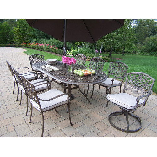 Oakland Living Mississippi Cast Aluminum 82 x 42 in. Oval 9pc Dining Set with Swivels and Cushions plus Tilting Umbrella and Stand