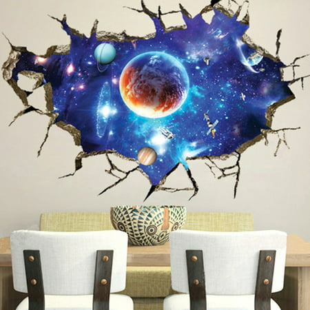 3D Floor Wall Stickers Planet Outer Space Children Bedroom ...