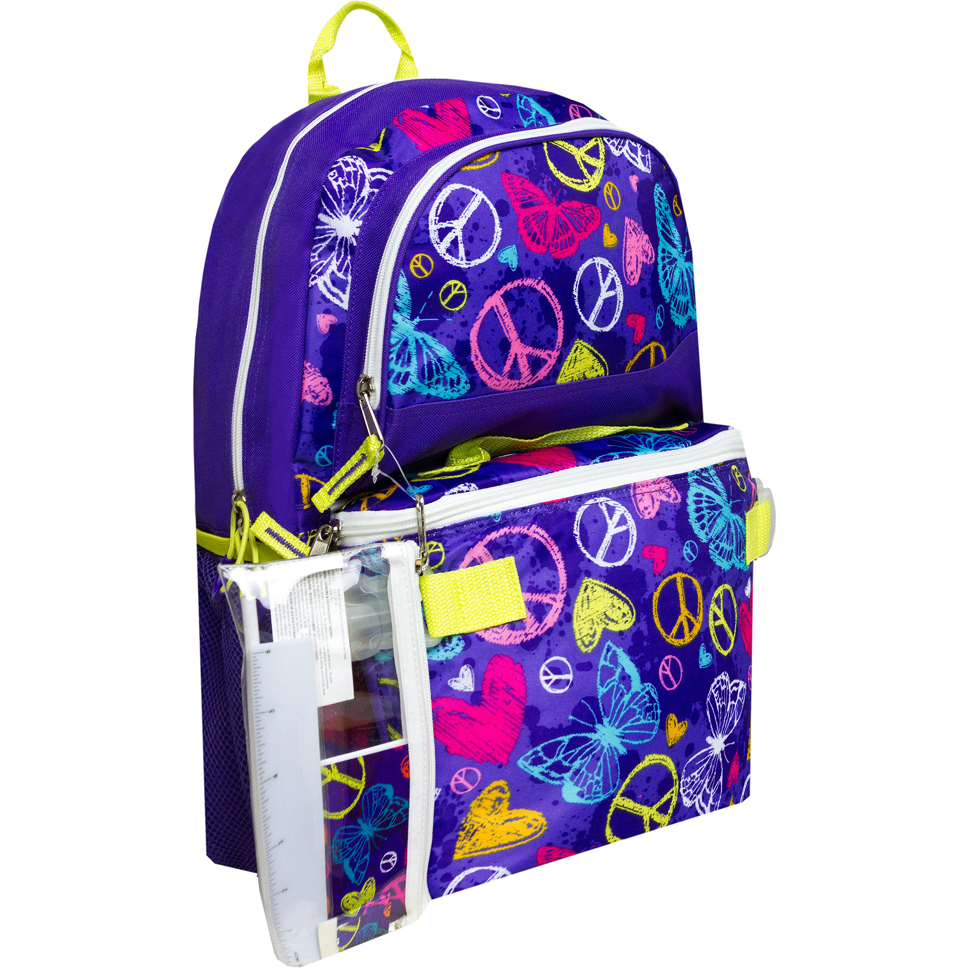 """Triple Pocket 17"""" Butterfly Peace Backpack with Pencil Case and Lunch Bag"""