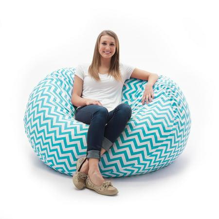 Comfort Research Fufsack Memory Foam Zig Zag Blue 4 Foot Large Bean Bag Lounge Chair