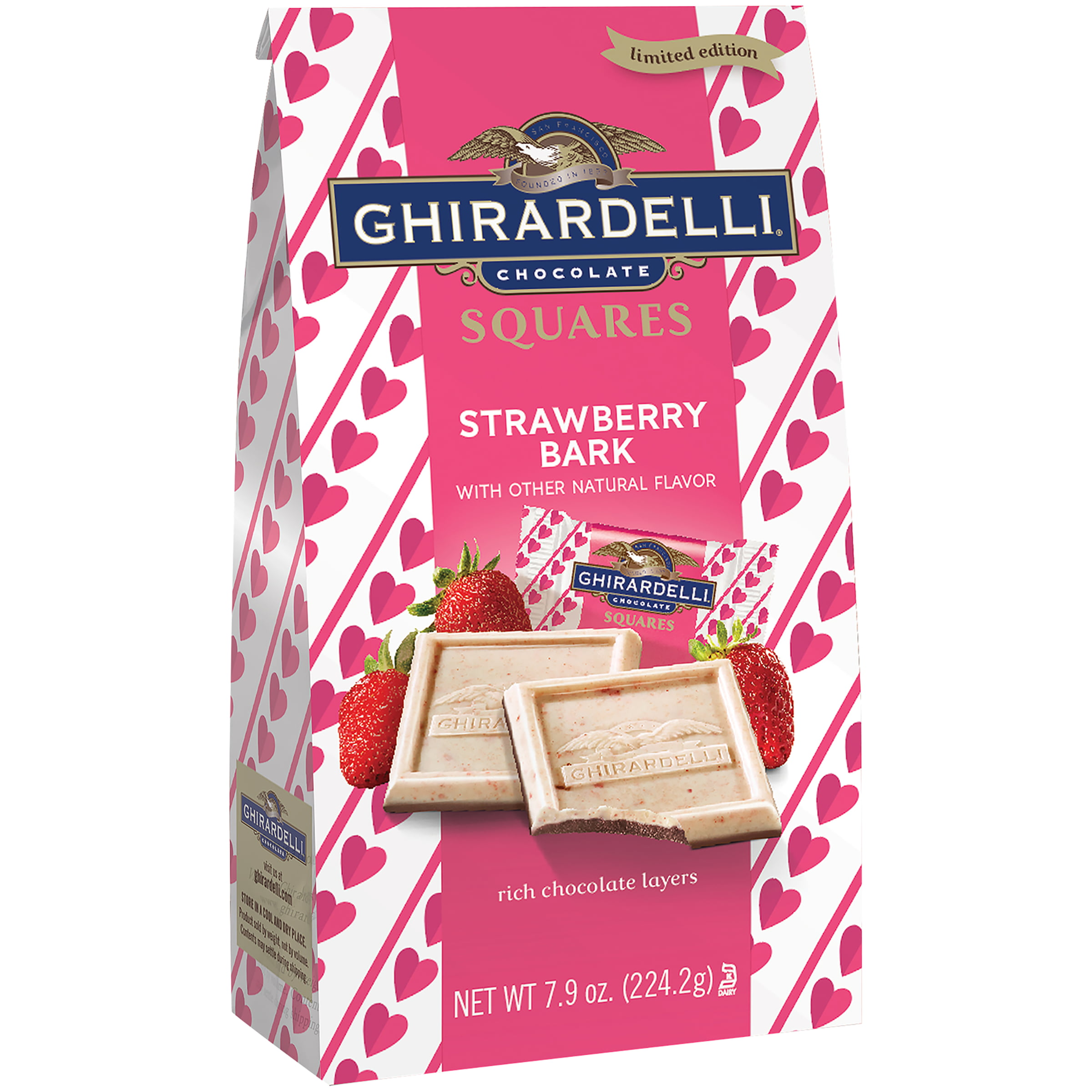 Ghirardelli Limited Edition Strawberry Chocolate Bark Squares, 7.9 ...