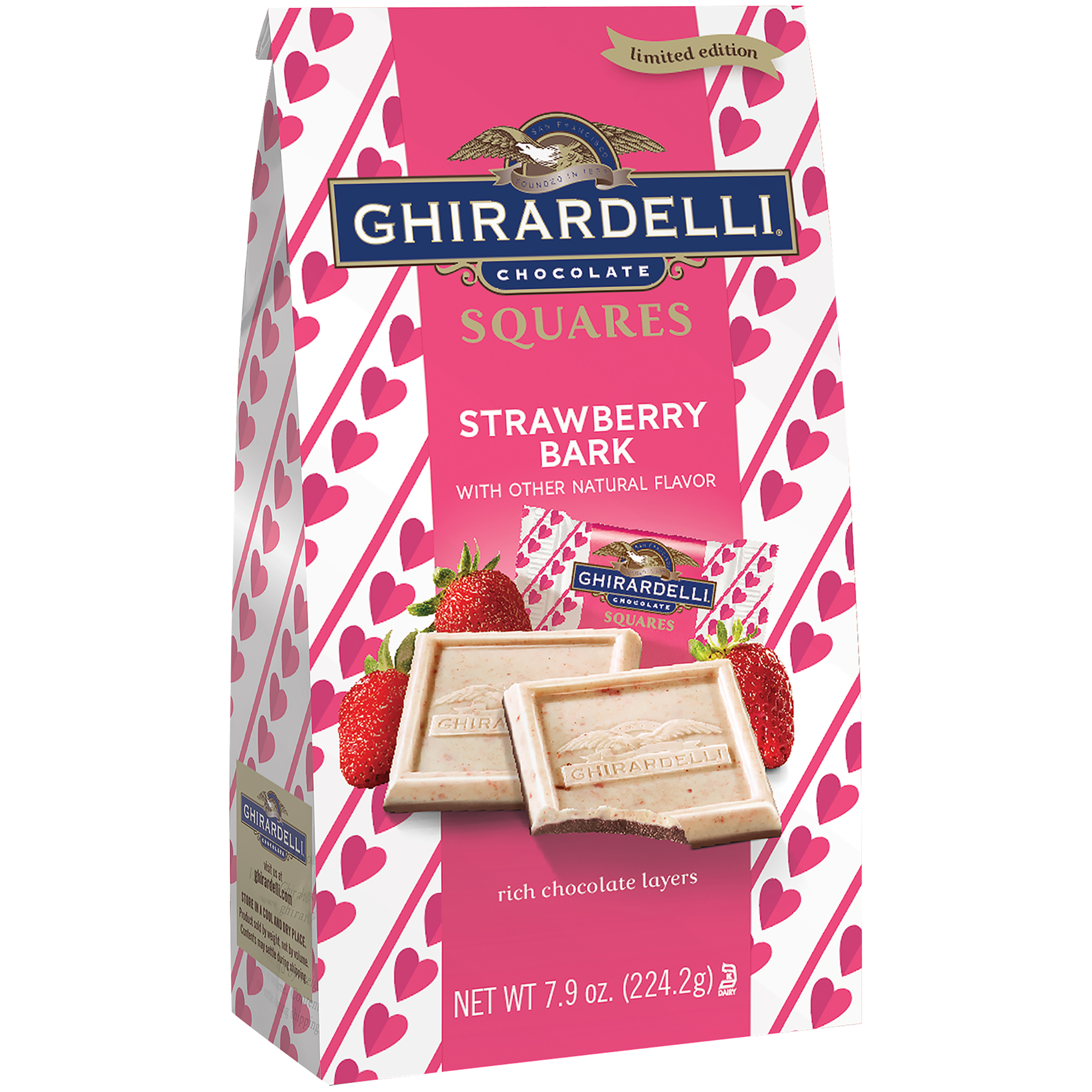 Ghirardelli Limited Edition Strawberry Chocolate Bark Squares, 7.9 Oz