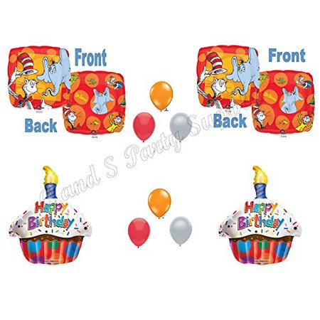 NEW! Dr. Seuss The Cat In The Hat Happy Birthday Balloons Decoration Supplies Party Baby Shower