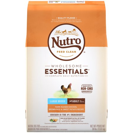NUTRO WHOLESOME ESSENTIALS Adult Large Breed Dry Dog Food Farm-Raised Chicken, Brown Rice & Sweet Potato Recipe, 30 lb. (Puppy Food For Sensitive Stomachs Large Breed)