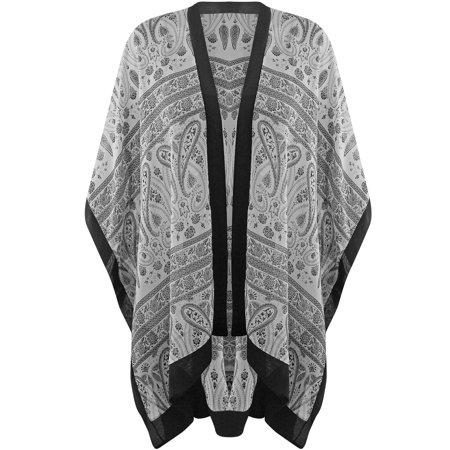 Sheer Chiffon Paisley Print Womens Kimono Beach Cover Up