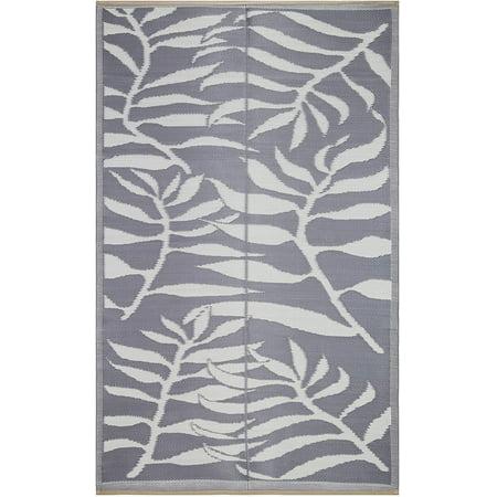 Lightweight Indoor Outdoor Reversible Plastic Area Rug - 4x6 Feet - Leaf Pattern - Grey/White
