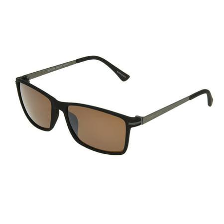 Foster Grant Men's Brown Rectangle Sunglasses GG12 73 Brown Frame Sunglasses