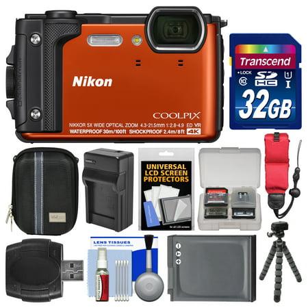 (Nikon Coolpix W300 4K Wi-Fi Shock & Waterproof Digital Camera (Orange) with 32GB Card + Case + Battery & Charger + Flex Tripod + Float Strap + Kit)