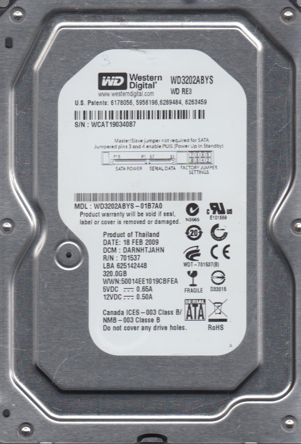 WD3202ABYS-01B7A0, DCM DARNHTJAHN, Western Digital 320GB SATA 3.5 Hard Drive by Western Digital