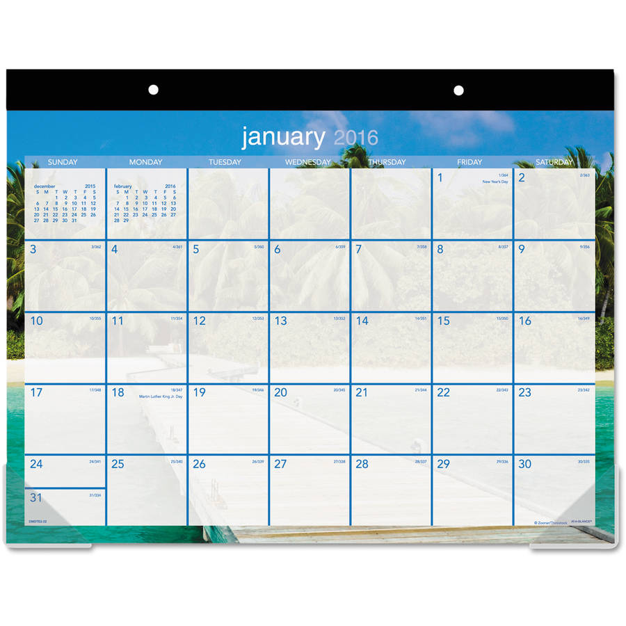 At-A-Glance Tropical Escape Desk Pad Calendar - Julian - Monthly - 1 Year - January 2017 till December 2017 - 1 Month Si