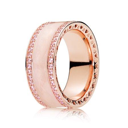 Cream Ring (Pandora Ring in Rose w/pink CZ and cream enamel Ring sz 50 181024EN95-50 )