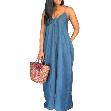 Womens Sexy V Neck Backless Spaghetti Strap Solid Long Maxi Dress Sundress