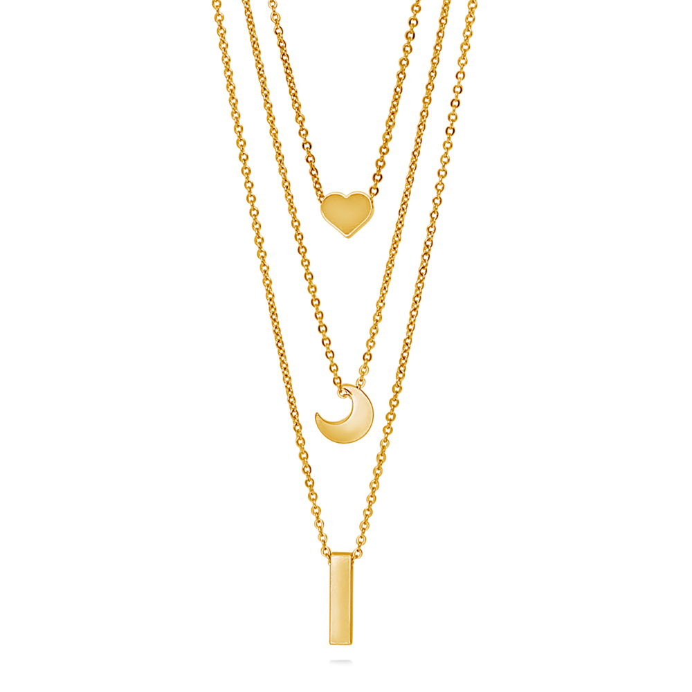 26c28c11a Berricle - BERRICLE Gold Plated Base Metal Heart Crescent Moon Bar Fashion Layered  Necklace 16.5