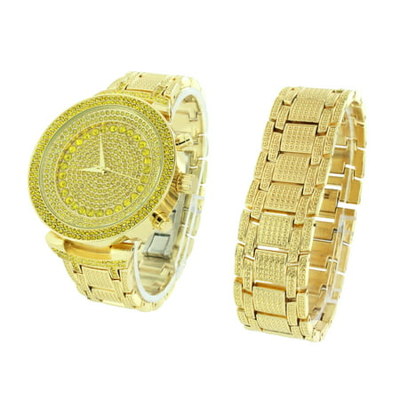 Fully Iced Out Gold Tone Watch Bracelet Set Simulated Diamonds Sale Brand New ()