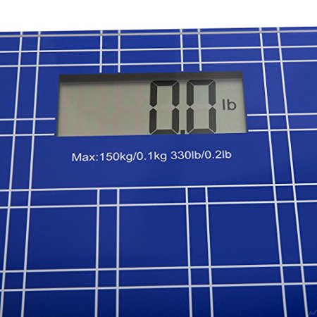 """Digital Bathroom/Body Weight Scale""""Step-On"""" Technology w/Extra Large LCD Display High Accuracy, Ultra-Thin Tempered Glass, 330-Pound Load Capacity, Blue - image 3 de 6"""