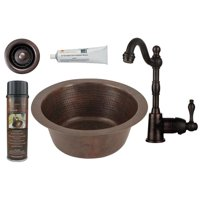 BSP4-BR12DB2-B Round Hammered Copper Bar Prep Sink Single Handle Bar Faucet, Oil Rubbed Bronze - 12 in.