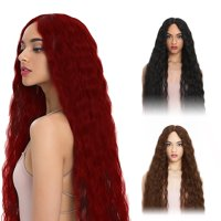 Women's Fashion Curly Wavy Long Hair Wig Black Wig Winered Wig Cosplay Wig Brown Wavy Wig