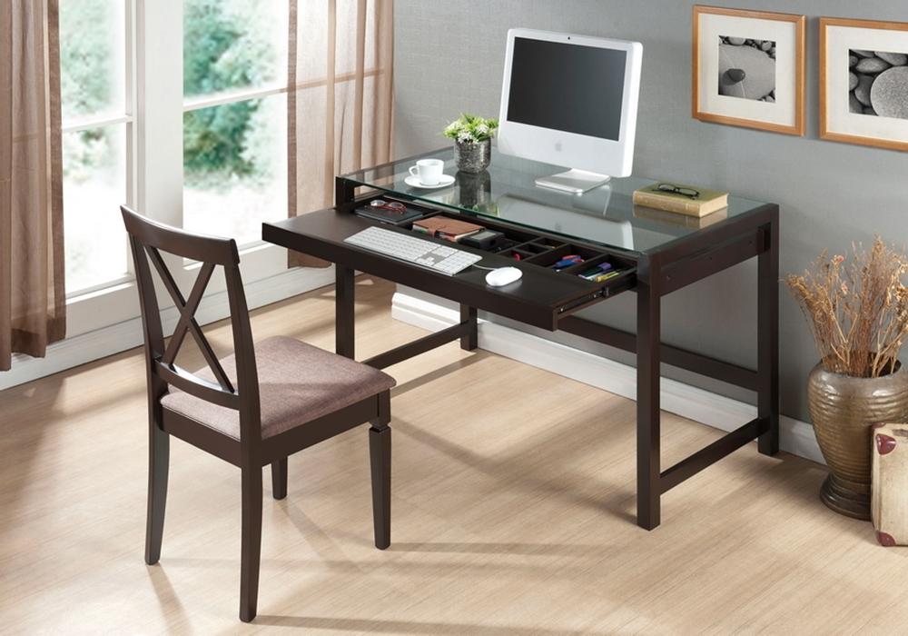 Baxton Studio Idabel Dark Brown Wood Modern Desk With Glass Top Com