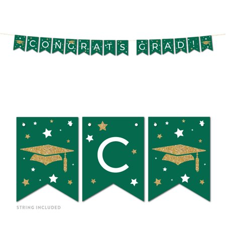 Emerald Forest Green and Gold Glittering Graduation Party, Hanging Pennant Party Banner with String, Congrats