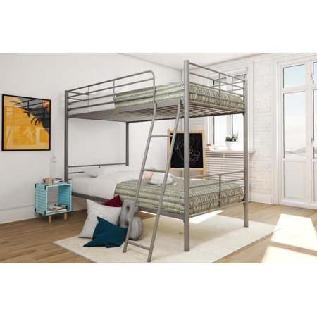 Mainstays Twin over Twin Convertible Bunk Bed, Multiple Colors - Metal Frame Futon Bunk Bed