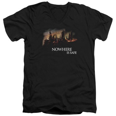 Harry Potter Burning Hogwarts Mens V-Neck Shirt](Hogwarts Tie)