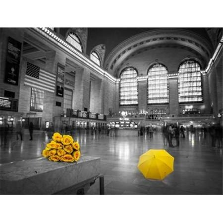 Bunch of Yellow Roses & Umbrella in Grand Central Terminal New York Poster Print by Assaf Frank, 9 x 12 -