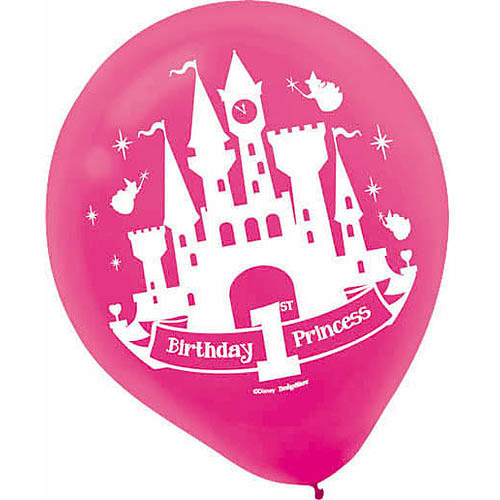 Disney Princess 1st Birthday Latex Balloons