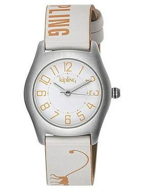 Girl's Orange Monkey White Leather Quartz Watch