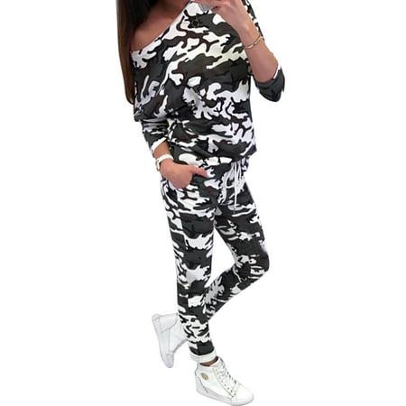 2PCS Women Camouflage Tracksuits Set Lounge Wear Ladies Top Suit Pant Plus  Size Ladies Casual Long Sleeve Blouse Trouser