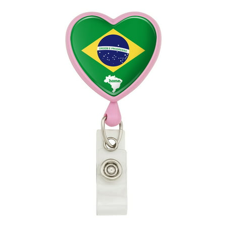Brazil Home Country Flag Heart Lanyard Retractable Reel Badge ID Card Holder - Pink