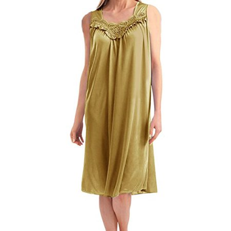 (Women's Satin Silk and Lace Sleeveless Lingerie Nightgown By)