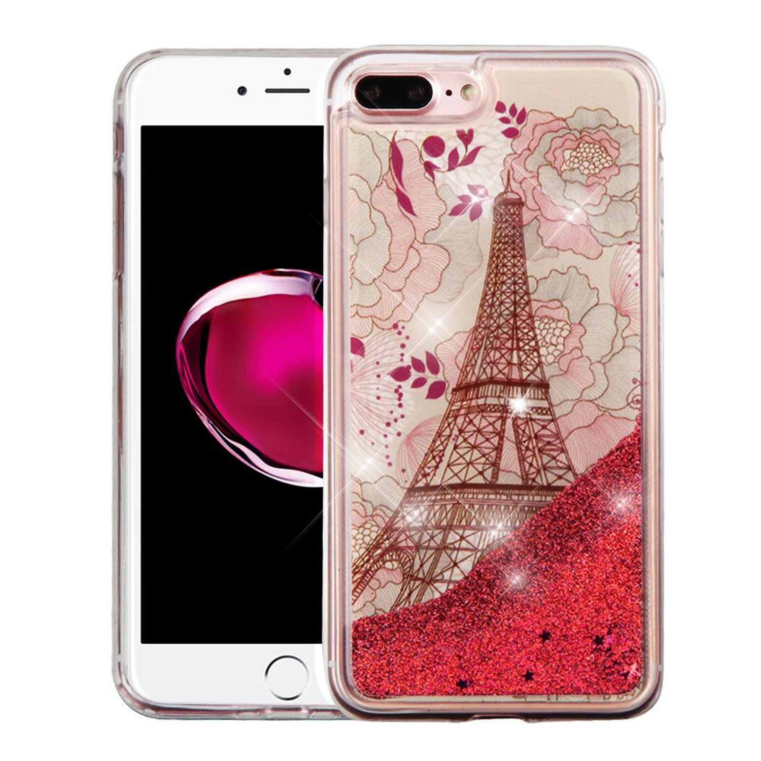 Insten Quicksand Eiffel Tower Glitter Hard Plastic/Soft TPU Rubber Case Cover For Apple iPhone 8 Plus / iPhone 7 Plus, Red