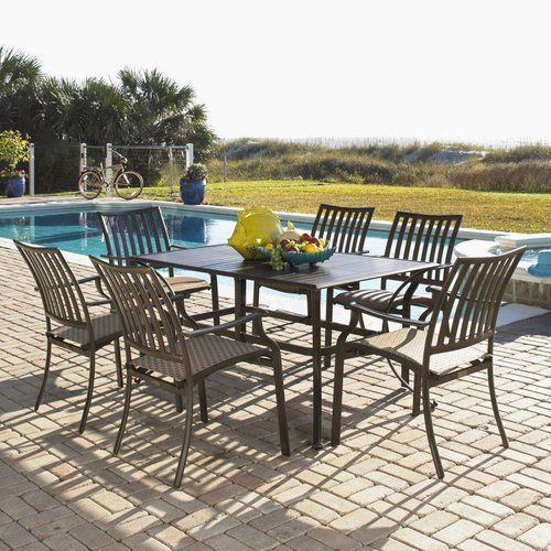 Hospitality Rattan PJO-1001-ESP-7PC Panama Jack 7-Piece Island Breeze Slatted Outdoor Dining Set