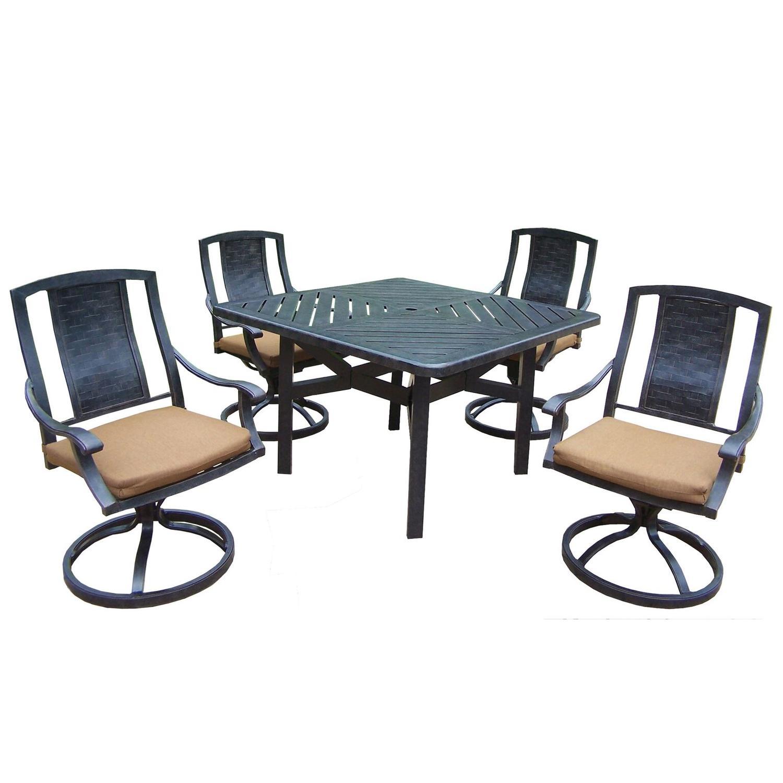 5-Piece Black Aluminum Outdoor Furniture Patio Dining Set - Tan Cushions