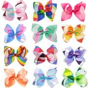 12Pcs Hair Clips, Multicolor Hair Barrettes Hair Bows Hair Pins Hair Accessories for Baby Girls Kids Teens Toddlers Children